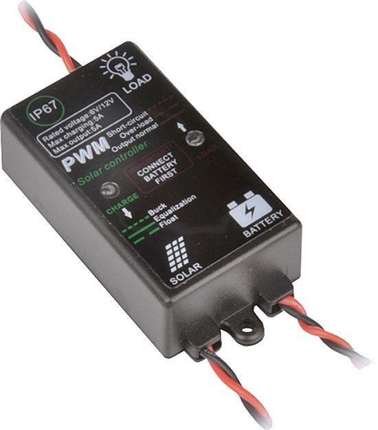 Solární regulátor PWM 12V/5A do 60W, pro malé panely, vybaven indikačními led diodami, Chrání baterii před přebitím a vybitím, Pro 6V nebo 12V ostrovní systémy