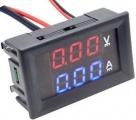 Panelové měřidlo LED Ampérmetr/Voltmetr panelový ss10A/100VDC