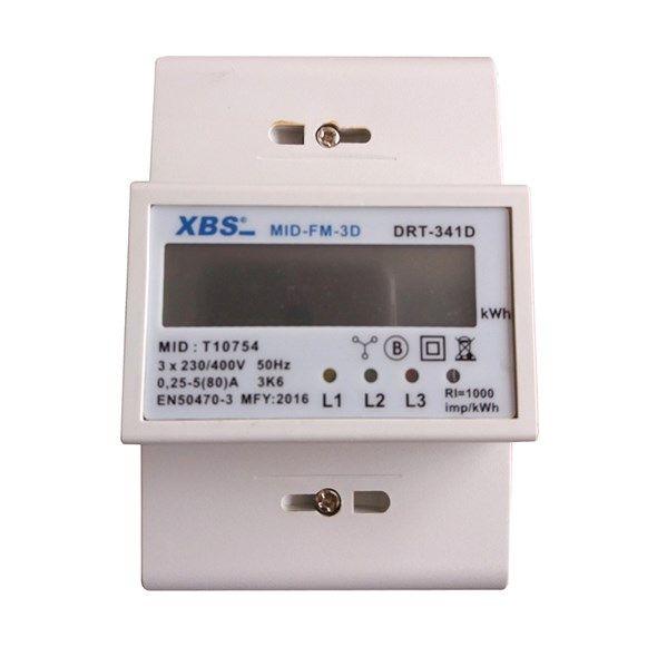 Elektroměr 3f třífázový na DIN lištu s MID certifikátem, digitální - měřič spotřeby ~ wattmetr, 4-moduly, 4-vodičový