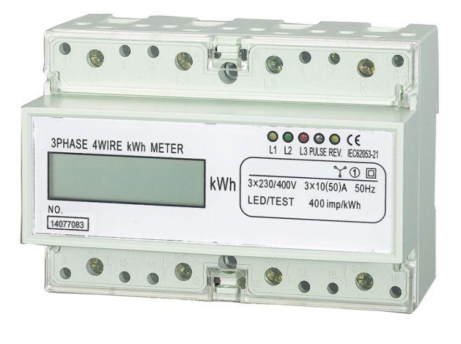 Elektroměr třífázový na DIN lištu HT-3PD - displej, digitální měřič spotřeby ~ wattmetr, jednosazbový podružný, Impulsní výstup pro externí záznam spotřeby