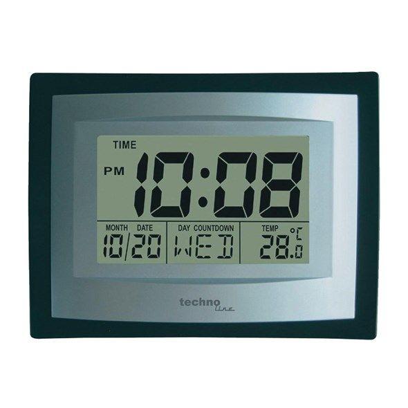 Hodiny JUMBO digitalní s teploměrem, Techno Line WS 8004, černá/stříbrná , rozměry (d x š x v) 35 x 220 x 170mm, datum, den, teplota