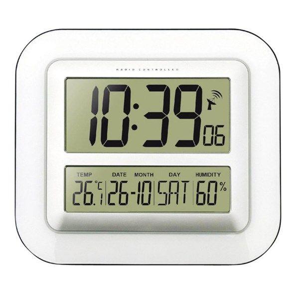 Hodiny JUMBO digitalní s teploměrem, Techno Line WS 8006, 280 x 245 x 32 mm, bílá/stříbrná , datum, den, teplota, vlhkost, velké, nástěnné