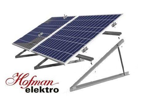 Konstrukce na rovnou střechu a volná prostranství, držák solárního panelu, Na rovné až mírně skloněné střechy a volná prostranství. Cena je za konstrukci na jeden panel