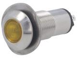 Kontrolka LED 24V DC @13mm žlutá 528-521-22 IP67 nerez