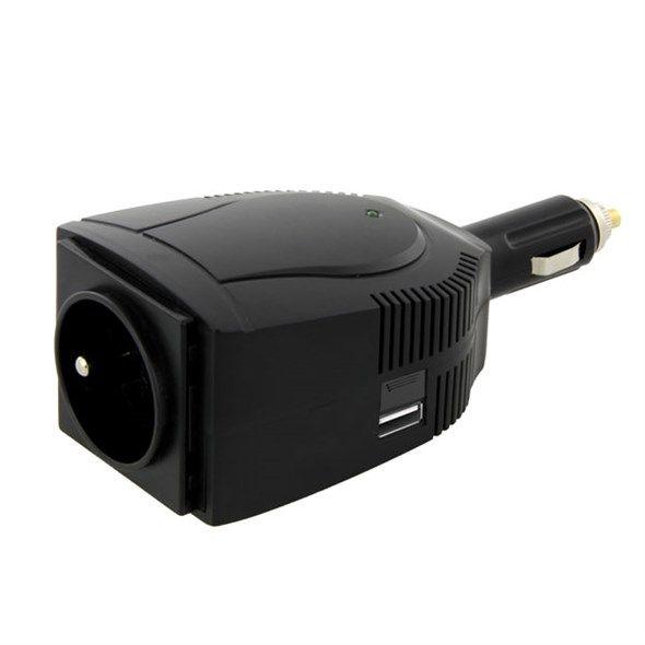 Měnič napětí DC/AC 12V/230V stř. 100W, do auta autozapalovače, pro notebook, tablet, telefon, počítač, modifikovaná sinusovka, USB 5V/1A