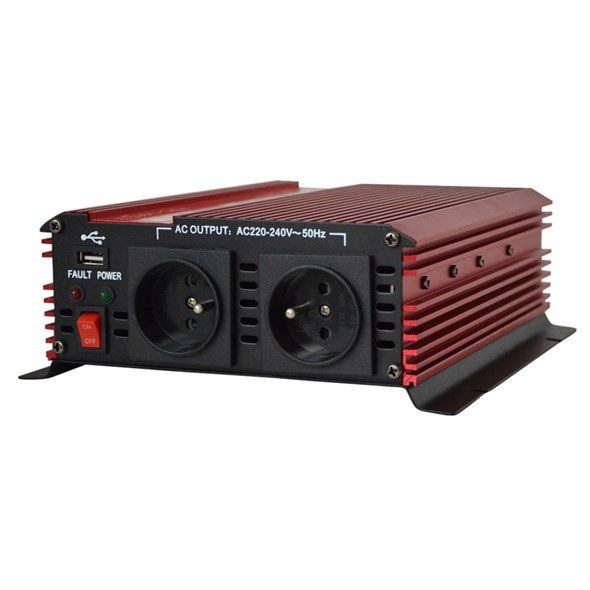 Měnič napětí DC/AC 12V/230V USB stř.1000W CARSPA, Mobilní síťový zdroj na cesty, vstup 10-15 V DC