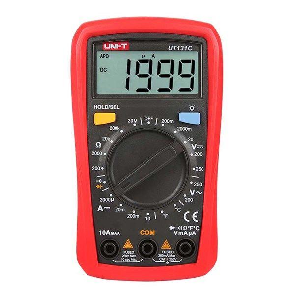 Multimetr UNI-T UT131C, červená barva, měří napětí, proud, odpor i teplotu