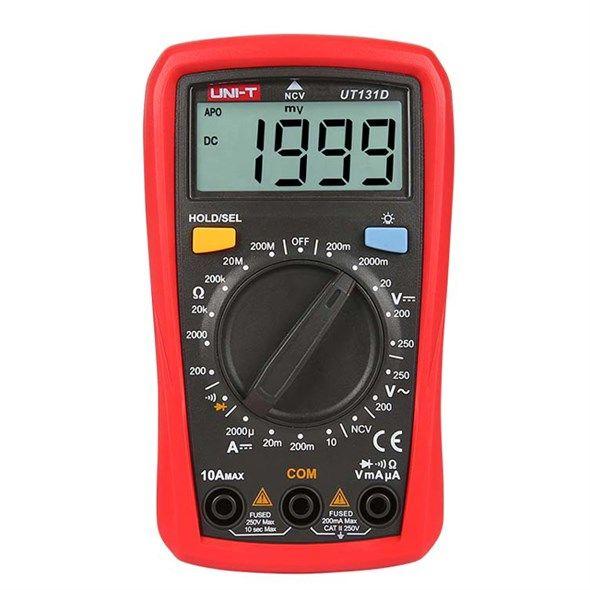 Multimetr UNI-T UT131D digitální, napětí, odpor, proud, ideální funkce a rozsahy, Měřící kabely součástí balení, bezkontaktní měření elektrického pole