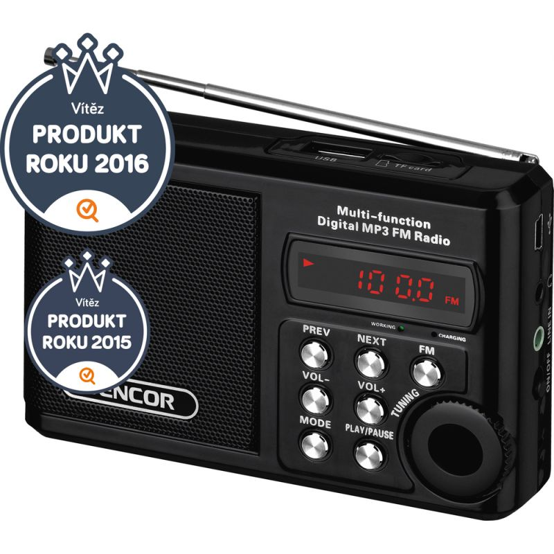 Radiopřijímač SENCOR SRD 215 B černá, digitální s USB/MP3, velmi výkonný a čistý zvuk s bassy, microSD kartou, akumulátor, nabíjecí baterie 3,6V, linkový vstup