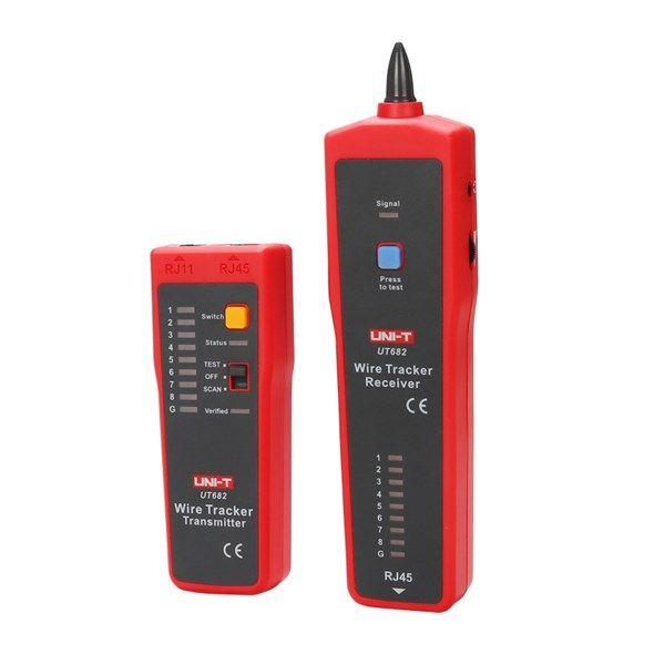 Tester síťových PC kabelů s konektory Tester kabelu UTP UNI-T UT682 (RJ45), hledač kabelů vysílač + přijímač