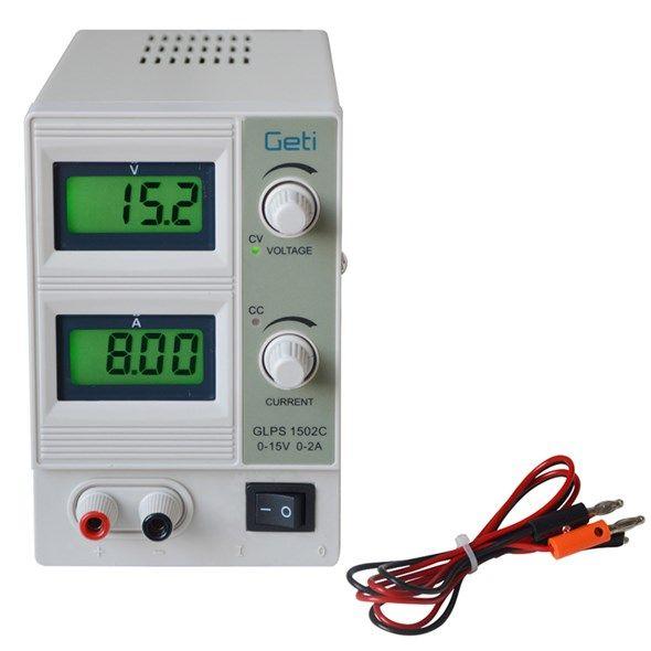 Zdroj laboratorní stabilizovaný a regulovatelný Geti GLPS 1502C 0-15V/ 0-2A, výkon 30VA, odolný proti zkratu, LCD displej pro proud i napětí