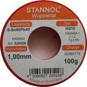 Cínová trubičková pájka s tavidlem F-SW26, průměr @1mm PÁJKA Sn60Pb40-1, váha 100g
