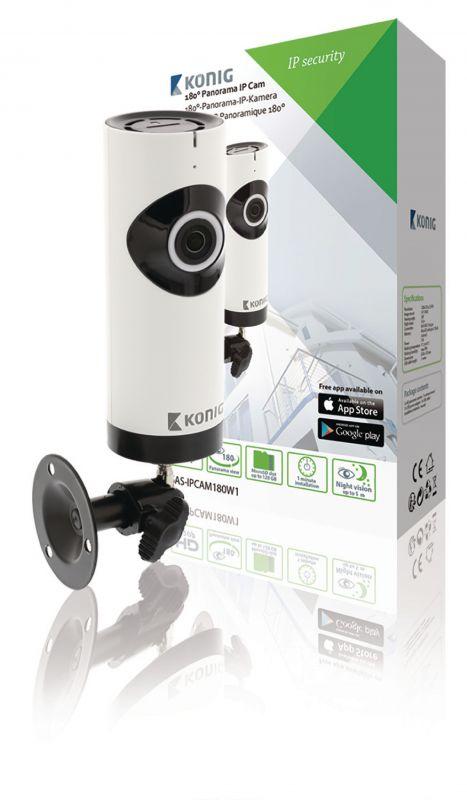 Kamera HD IP Panorama Bílá/Čern, bezdrátová vnitřní interier barevná WiFi (internet), rozlišení 1280x720, záznam na MicroSD kartu (až 128 GB), Detekce pohybu s upozorněními, snímání 180° objektiv typu