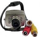 Kamera JK309 mini CMOS COLOR, připojení CINCH, napájení 6– 9V/30mA, se zvukem, rozměry 35×23×30mm