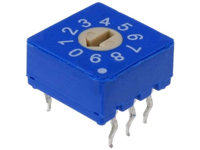 Kódový spínač ERD110RS 10 poloh DEC/BCD. Rozměry tělesa: 10 x 10 x 5.4mm