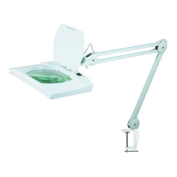 Lupa stolní kulatá obdélník ( svorka ) 5diop. LED(108x) 8069D, se skleněnou čočkou, 4 dioptrie