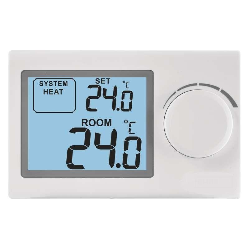 Pokojový termostat P5604 digitální, 5 - 35°C, manuální-analogový s podsvíceným displejem pro základní regulaci teploty v domácnosti.