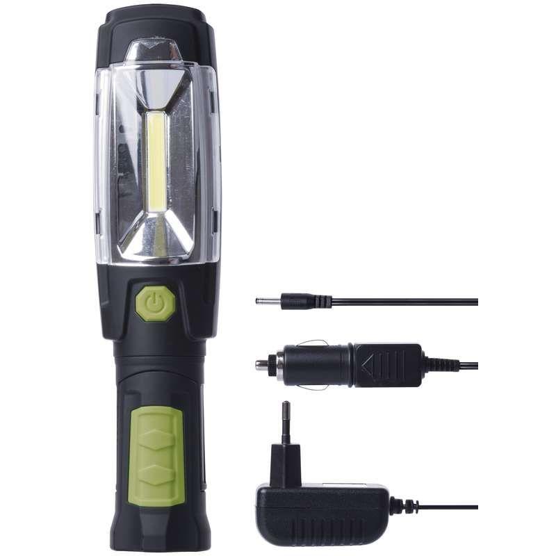 Svítilna ruční montážní LED P4518, 3W COB + 6x LED, akumulátor Li-Ion 18650 3,7 V/2 500 mAh, napájecí adaptér 230V + adaptér do automobilu 12V/24V, háček, magnet