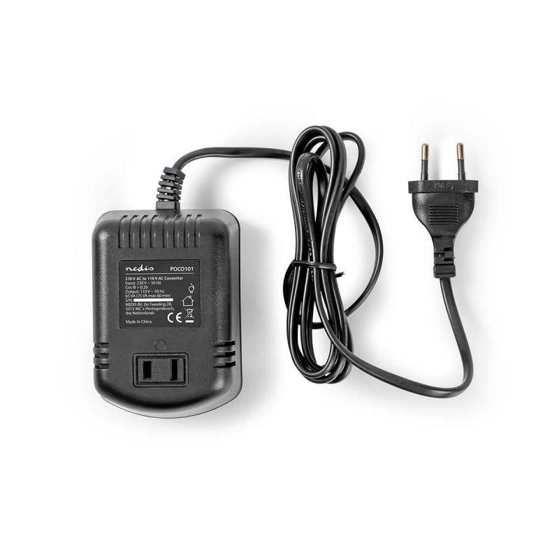 Adaptér 230V AC/US-přístroje na 110V AC / 75W napájecí zdroj-měnič, Neuzemněný USA Výstup