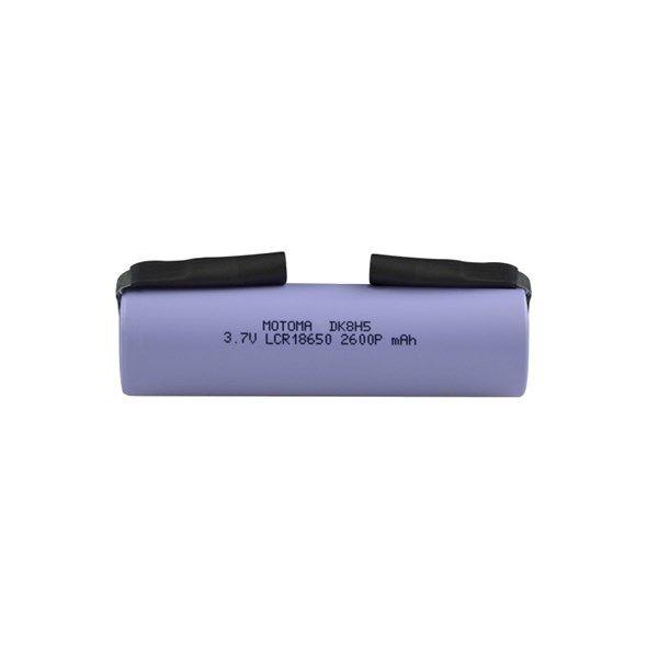 Baterie Lithiová, akumulátor, nabíjecí článek Li-Ion LCR18650 3,7V/2600mAh s vývody, rozměr @18mm x 65mm MOTOMA