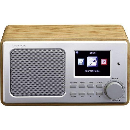 "Internetové rádio radiopřijímač Lenco DIR-100 dřevo, příjem FM/AM, Wifi, napájení 230V AC, 3,2"" TFT barevný displej • budík • USB • předpověď počasí • MP3, WAV, ACC • ekvalizér • výkon 3 W • AUX IN •"