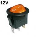 Vypínač kolébkový kulatý pros. 2pol./3pin ON-OFF 16A/12VDC oranžový