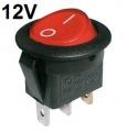 Vypínač kolébkový kulatý pros. 2pol./3pin ON-OFF 16A/12VDC červený