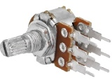 Potenciometr PC17SHL 1kOhm dvojitý lineární, oska @6mm