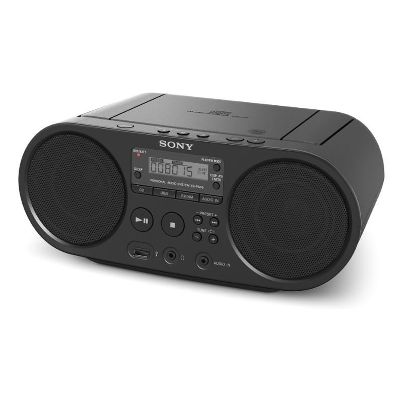 Radiomagnetofon SONY ZS-PS50B s CD MP3 a USB, CD přehrávač s AM/FM příjmem • výkon 2× 2 W RMS • přehrává MP3, WMA, CD-R/RW • USB • LCD displej • Audio-in • konektor pro sluchátka • hmotnost 1,7 kg