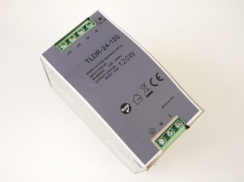 Stabilizovaný spínaný zdroj (trafo) 24V 5A 120W na DIN lištu