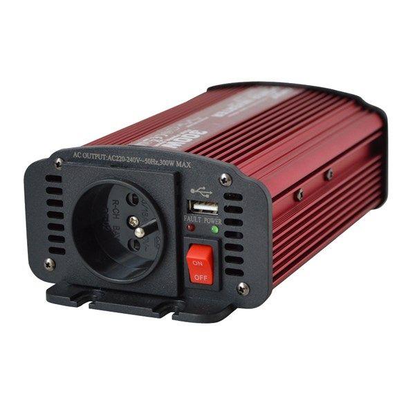 Měnič napětí DC/AC 24V/230V střídavých 300W CZ + USB CARSPA