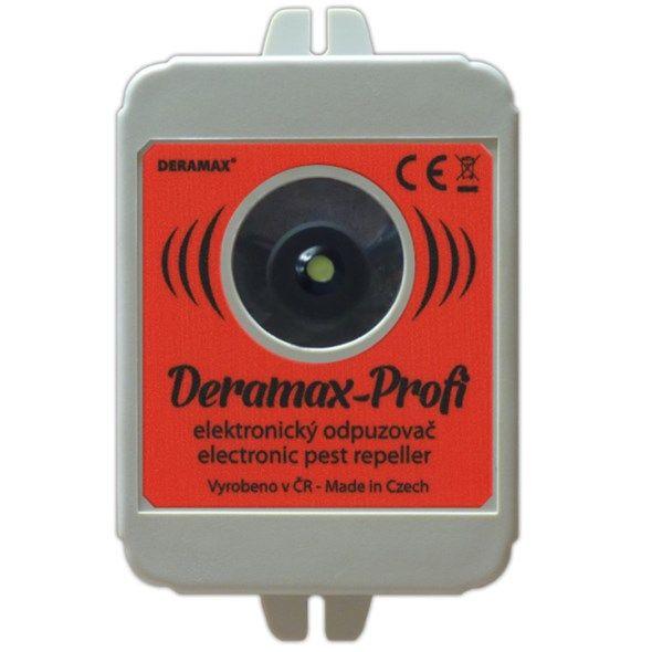 Odpuzovač hlodavců DERAMAX Profi - plašič kun a hlodavců, vysokofrekvenční ultrazvukový, napájení 12V DC (zdroj není součástí) konektor 5,5/2,1mm, lze napájet i z 230V