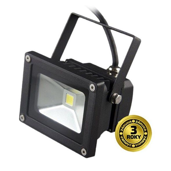 Reflektor LED venkovní 10W/700lm, MCOB, AC 230V, černá II, 6000K studená bílá