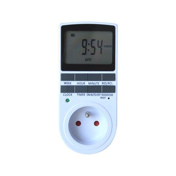 Spínací hodiny digitální Geti GDT02 Časový spínač - Časovač týdenní nebo denní s vypínačem - Programovatelná zásuvka, (7-denní), 3680W