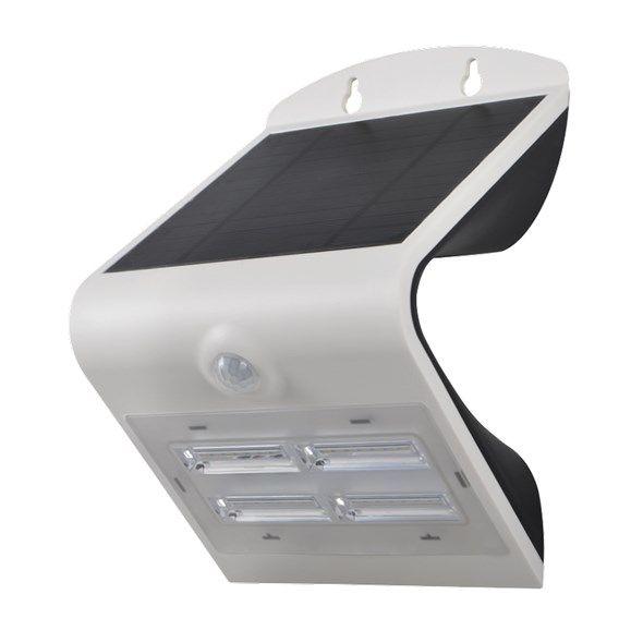 Světlo solární LED 3,2W IMMAX 08426L venkovní s PIR čidlem sensorem pohybu, pro osvětlení vchodových dveří, přístupových cest apod., montáž na zeď, dobíjení slunečním svitem přes vestavěný solární pan