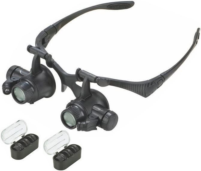 Binokulární lupa, zvětšovací brýle mikroskop 10-25x s osvětlením LED, na hlavu, včetně baterií