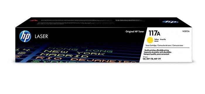 HP 117A YELLOW (W2072A) Žlutý originální toner má kapacitu tisku až 700 stran A4 při 5% pokrytí. Pro tiskárnu HP Color Laser 150a,150nw,178nw,179fnw