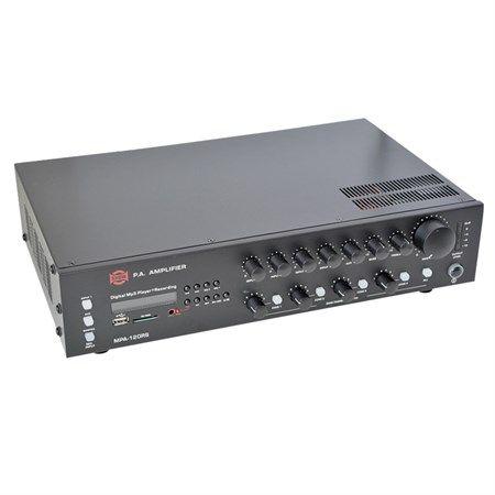 Ústředna rozhlasová MPA-120RS Výstup: 4Ω, 25V, 70V, 100V, k ozvučení prostor ve školách, malých hotelech a supermarketech, obřadních síní apod., zabudovaný MP3 přehrávač se vstupy pro USB paměti a SD/