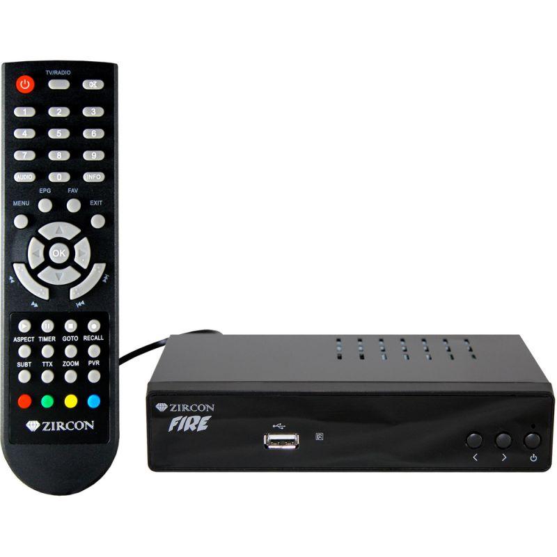 ZIRCON FIRE DVB-T2 HEVC/H.265 přijímač, set-topbox pro příjem digitálního pozemního vysílání, stříbrná