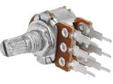 Potenciometr PC17SL 100kOhm dvojitý lineární, oska @6mm