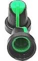 Knoflík přístrojový na osku @6mm černo-zelený