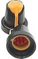 Knoflík přístrojový na osku @6mm černo-oranžový