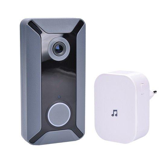 Domácí dveřní videotelefon SOLIGHT 1L200 zvonek s kamerou, WiFi bezdrát, ovládání chytrý telefon nebo tablet, odemykání, ukládání fotografií a záznam videa cloud, napájení baterie 2x Li-Ion 18650 souč