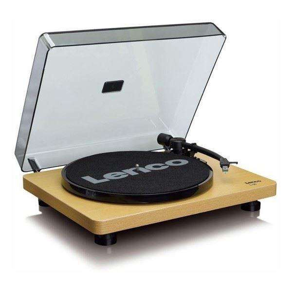 Gramofon Lenco L 30 Wood dřevo - gramofon s USB výstupem, s řemínkovým pohonem a integrovaným stereo předzesilovačem