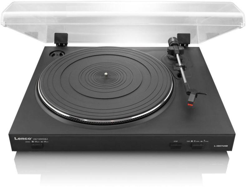 Gramofon Lenco L-3867, integrovaný předzesillovač, řemínkový pohon, USB, možnost digitalizovat