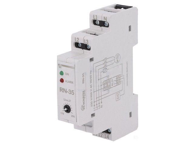 Hlídací proudové relé RN-35, nastavitelný proud 1-10A/230V na DIN lištu, asymetrie fází, napětí v třífázové síti, sled fází, výpadek fáze, šroubové svorky