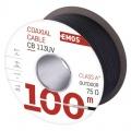Koaxiální venkovní kabel CB113UV 75 Ohm, vnější průměr 7,1mm, měděný střed + trojnásobné stíněním TRISHIELD z pocínované mědi CuS