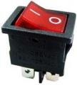 Přepínač kolébkový ON-OFF 250V/6A 2pol./4piny pros.červený