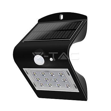 Osvětlení LED VT-767-2 solární svítidlo s čidlem, 1,5W, IP65, černá, Počet SMD čipů 14, solární panel, akumulátor, černá, na zeď