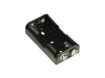 Držák baterií 2xAA,R6 plochý,klips